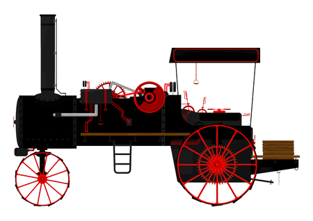 Silhouette of an old traction engine  Vector
