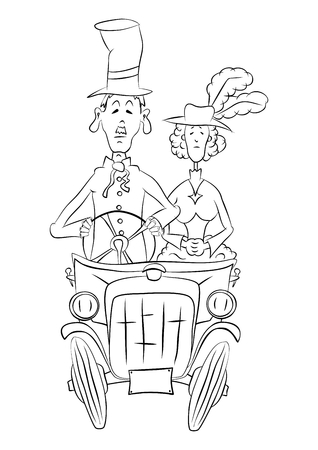Illustration of two senior people riding a historic car  Vector