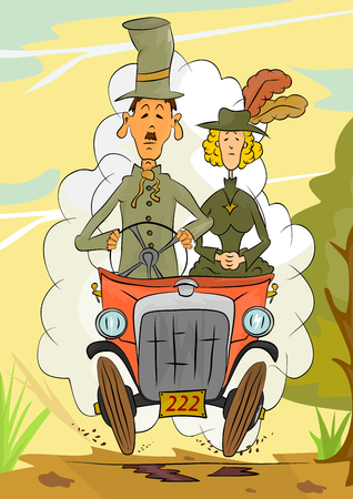 Illustration of two senior people riding a historic car  Vectores
