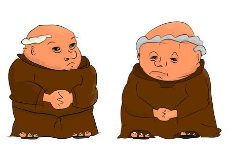 Twee cartoon monniken die op een witte achtergrond Stock Illustratie