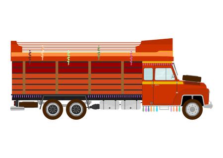 classical mechanics: Retro colorful indian truck Illustration