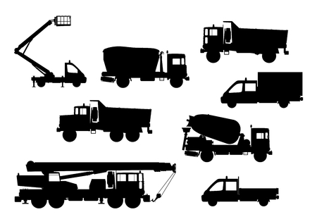 Set of silhouettes of construction vehicles Vector