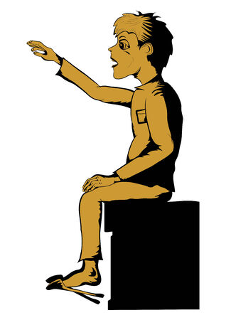 Illustration of boy sitting on the edge of the bed Vector