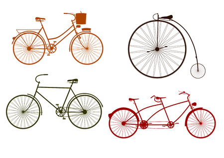 Silhouette of retro bicycle on a white background  Vector