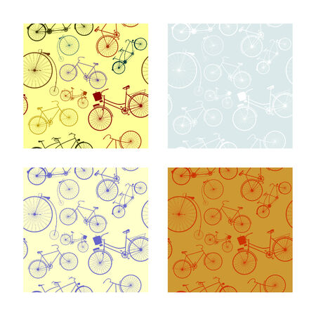 Seamless pattern with silhouettes of retro bike photo