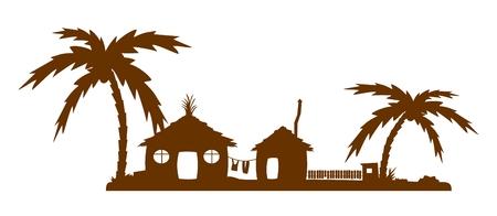 Silhouette of exotic village Vettoriali