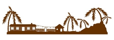 tropical beach panoramic: Silhouette of exotic village Illustration