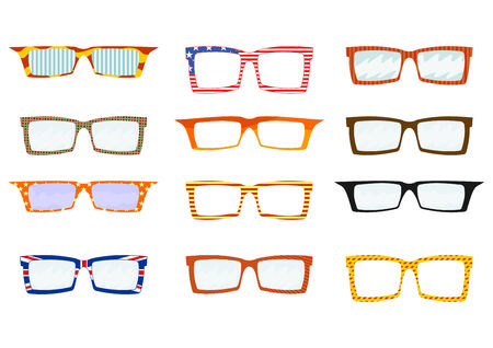 Set of colorful glasses Vector