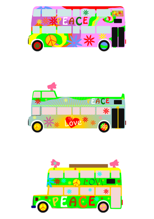 double decker bus: Party bus Illustration