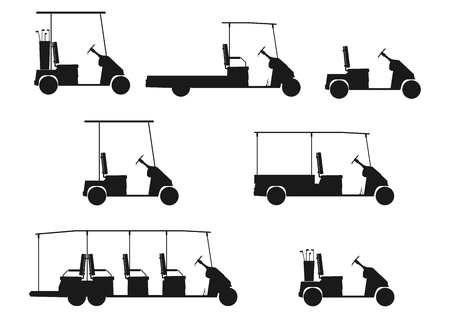 Silhouette of a cartoon golf cart on a white background   Illustration