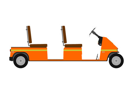 Silhouette of a cartoon golf cart on a white background   Vector