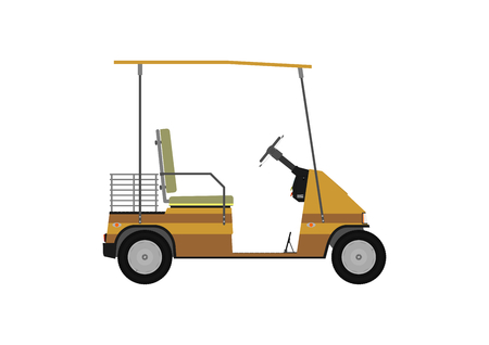 golf cart: Silhouette of a cartoon golf cart on a white background   Illustration