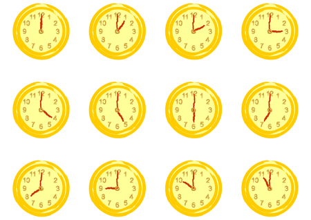 Set of dials with hours isolated on white background  Vector