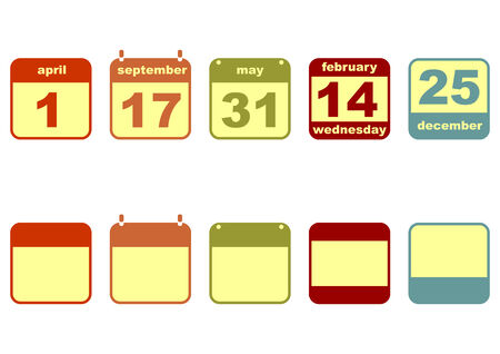 Set of icons of calendars isolated on white background  Vector  Vector
