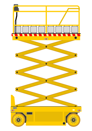 Self propelled scissor lift isolated on white background  Çizim