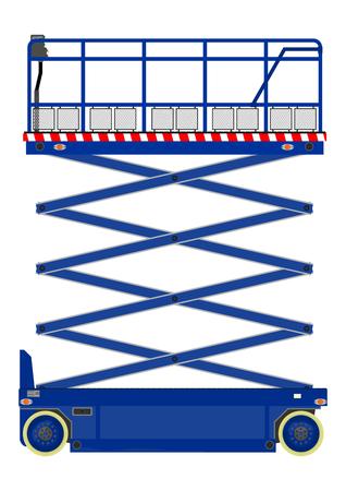 hydraulic platform: Autopropulsadas de tijera aislado en blanco