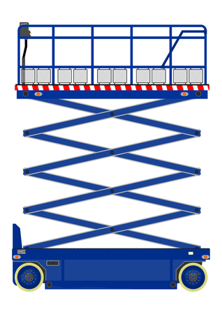 Self propelled scissor lift isolated on white  Vector