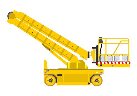 crane bucket: Self propelled scissor lift isolated on white
