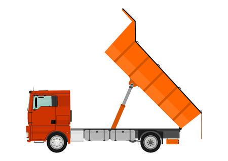 camion volteo: Cami�n volquete aislado en fondo blanco Vectores