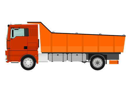powerfull: Dump truck isolated on white background