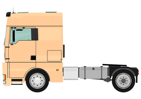 Cartoon tractor unit isolated on a white background  Vector  Vector