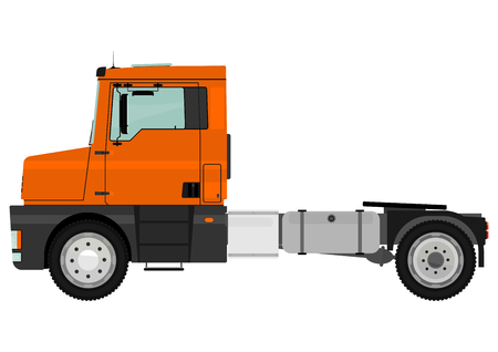 Cartoon tractor unit isolated on a white background  Vector  Illustration