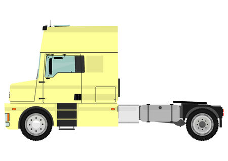 Cartoon tractor unit isolated on a white background  Vector