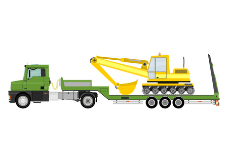 Cartoon tractor unit with a heavy trailer isolated on white background  Illustration