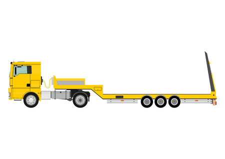Cartoon tractor unit with a heavy trailer isolated on white background    Vector