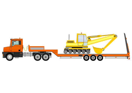 Cartoon tractor unit with a heavy trailer isolated on white background  Vector  Vector