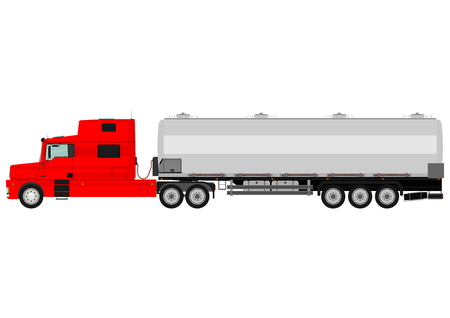 cistern: Cartoon tanker truck on a white background