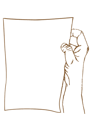 Cartoon hand holding a piece of paper Vector