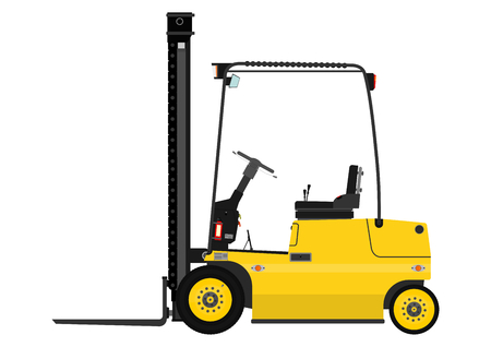 Yellow fork lift truck on a white background