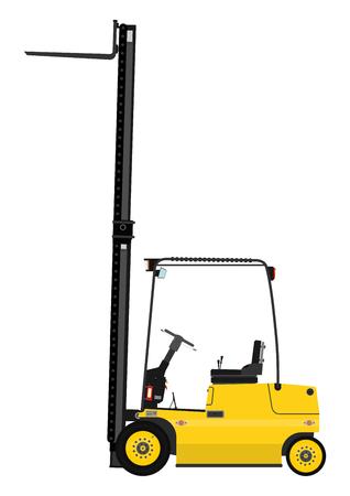 Camión amarillo de elevación tenedor sobre un fondo blanco