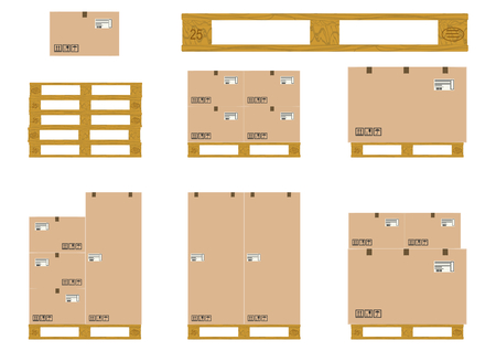 Un set di pallet in legno con scatole di cartone su uno sfondo bianco Archivio Fotografico - 29802068
