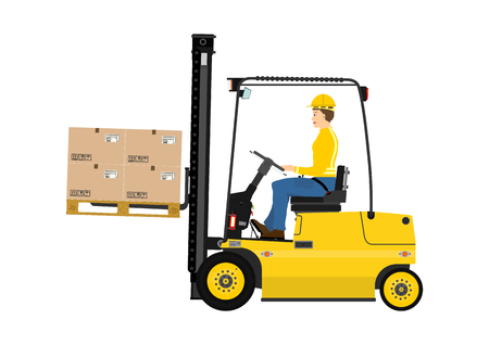 Cartoon fork lift truck at work isolated on white background