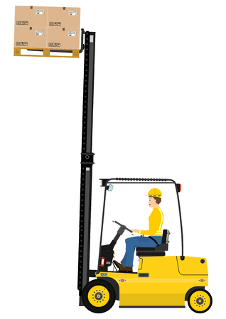 machine operator: Cartoon fork lift truck at work isolated on white background