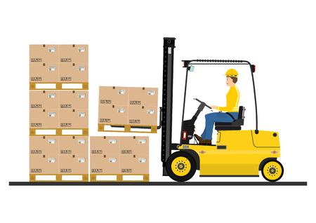 machine operator: Cartoon fork lift truck at work isolated on white background  Vector