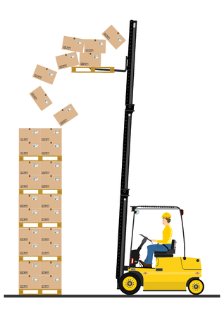 Cartoon fork lift truck at work isolated on white background Vector