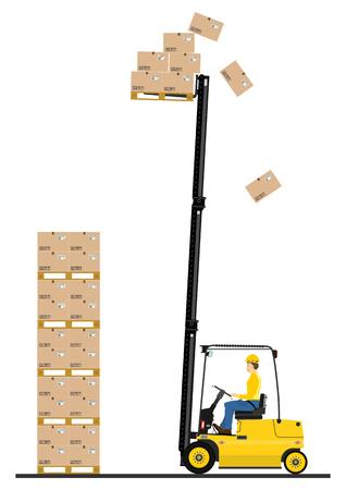 fork lift: Carretilla elevadora tenedor de dibujos animados en el trabajo aislado en el fondo blanco