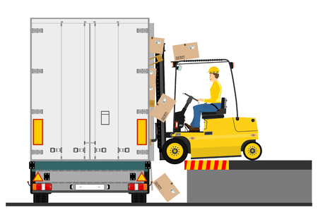 forklift truck: Illustration of a forklift truck during loading the trailer