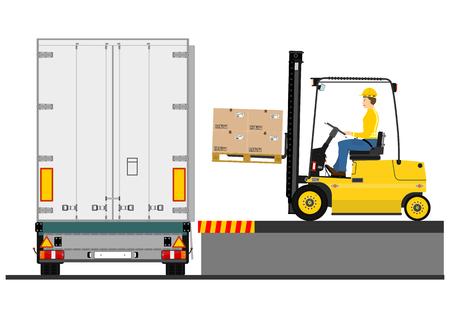 Illustration of a forklift truck during loading the trailer