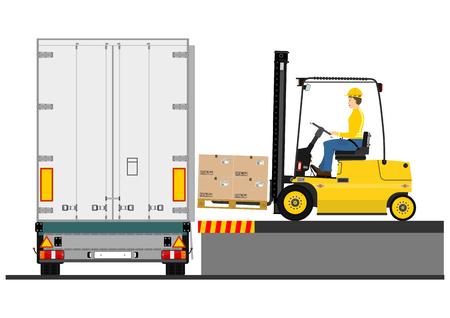 Illustrazione di un carrello elevatore durante il caricamento del vettore del rimorchio