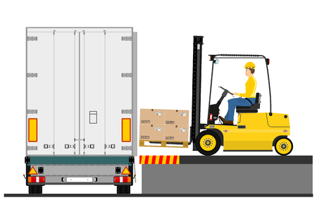 Illustration of a forklift truck during loading the trailer  Vector