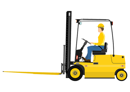Warehouse forklift with fork extensions on a white background Vectores