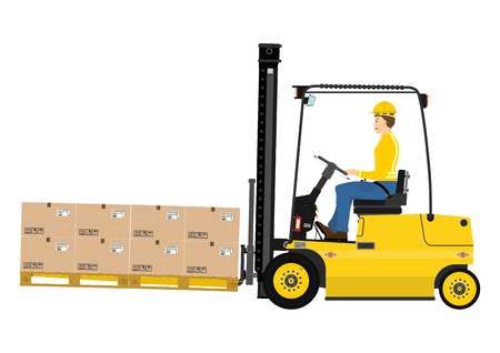 Warehouse forklift with fork extensions on a white background Vettoriali