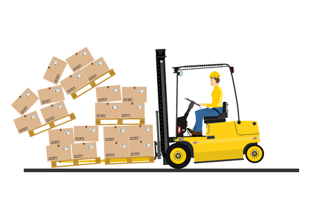 forklift truck: Warehouse forklift with fork extensions on a white background Illustration