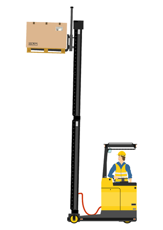 reach truck: Yellow forklift  reach truck  on a white background