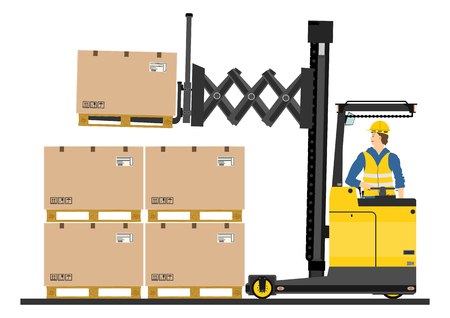 黄色のフォーク リフトは、白い背景に、トラックに達する  イラスト・ベクター素材
