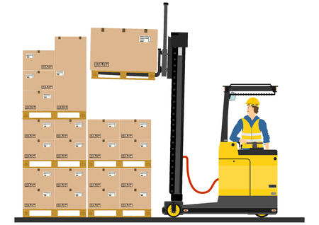 reach: Yellow forklift  reach truck  on a white background